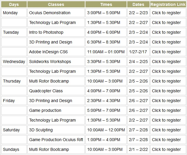 Schedule of Classes February 2015